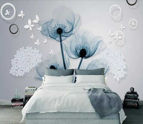 3D Blue Tridimensional Flower Wall Mural Wallpaper 180