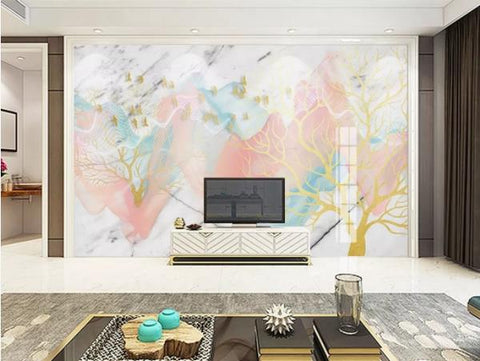 3D Abstract Forest Marble Decorative Effect Wall Mural Wallpape  136