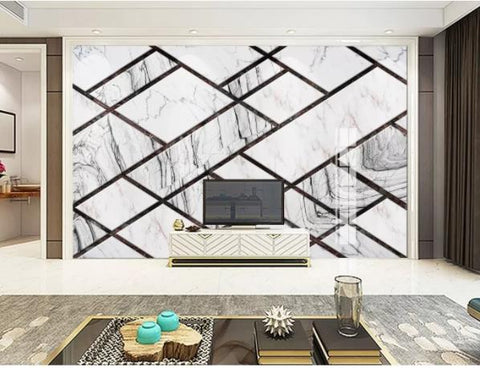 3D Geometry Marble Decorative Effect Wall Mural Wallpape  138