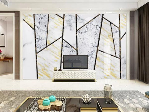 3D Geometry Marble Decorative Effect Wall Mural Wallpape  140