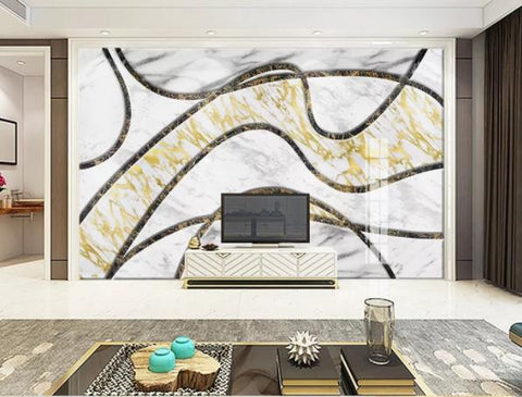3D Geometry Marble Decorative Effect Wall Mural Wallpape  144