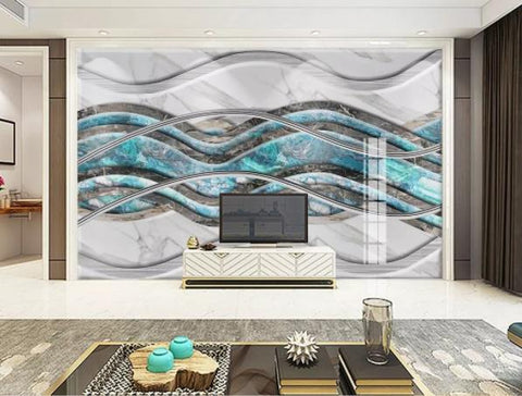 3D Geometry Marble Decorative Effect Wall Mural Wallpape  145