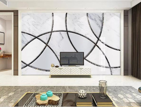 3D Geometry Marble Decorative Effect Wall Mural Wallpape  146