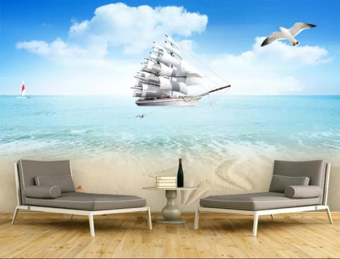 3D Blue Sky Sea White Clouds Boat Wall Mural Wallpaperpe 352