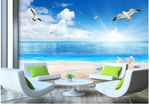 3D Blue Sky Sea White Clouds Birds Wall Mural Wallpaperpe 355
