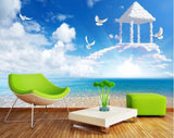 3D Blue Sky Sea Clouds Birds Wall Mural Wallpaperpe 358