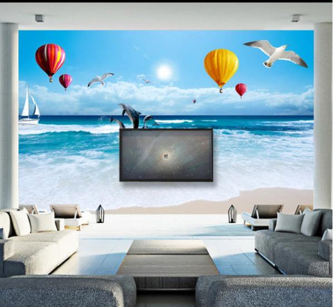 3D Blue Sky Sea Birds Balloon Wall Mural Wallpaperpe 361