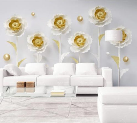 3D Golden Floral Wall Mural Wallpaper 807