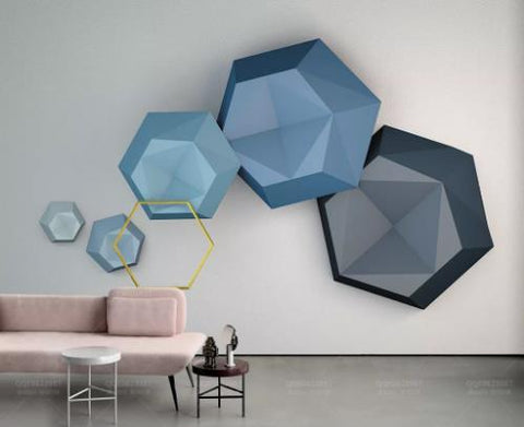 3D Blue Hexagon Wall Mural Wallpaper 734