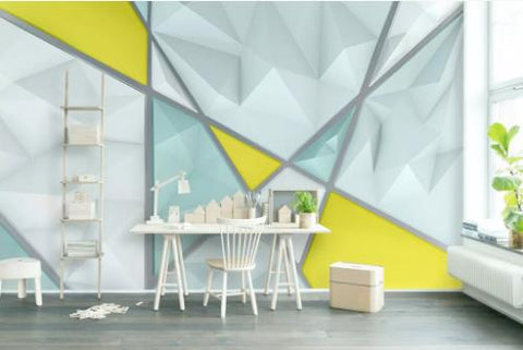 3D Blue Polygon Geometric Wall Mural Wallpaper 724