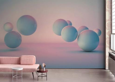 3D Blue Pink Ball Wall Mural Wallpaper 721