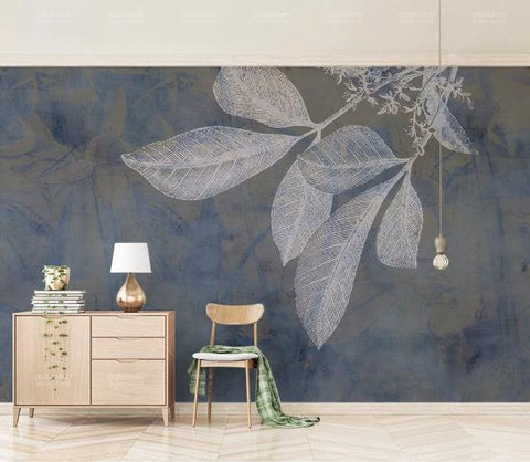 3D Blue Leaves Wall Mural Wallpaper 801
