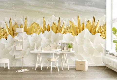 3D Golden Crystal Mountain Wall Mural Wallpaper 547
