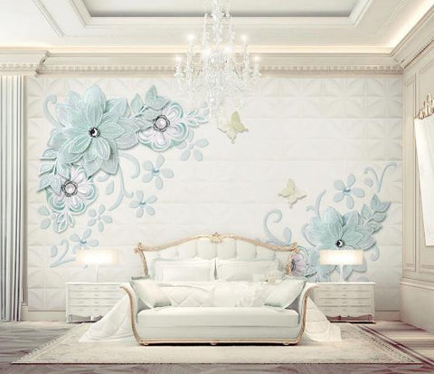 3D Blue Relief Floral Wall Mural Wallpaper 605