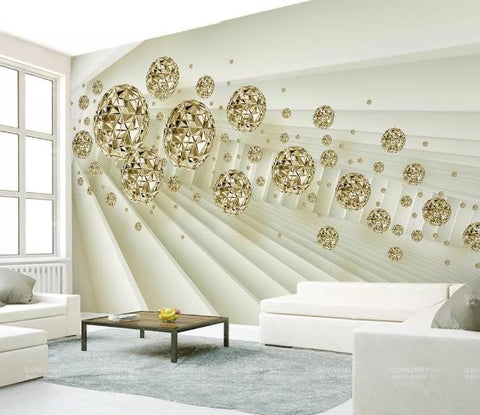 3D Golden Ball Space Wall Mural Wallpaper 220