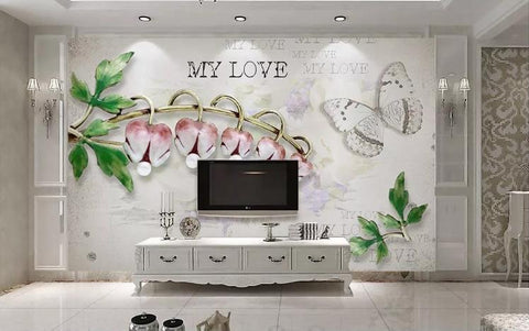 3D Campanula Butterfly Jewelry Wall Mural Wallpaper 140