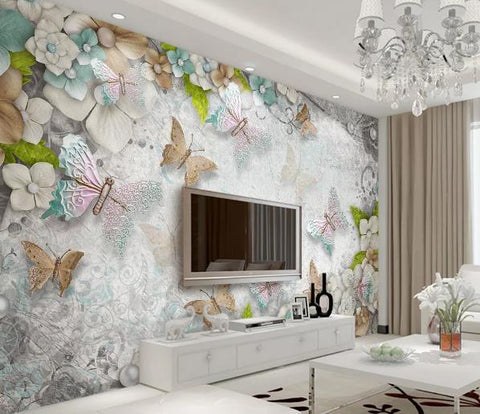 3D Butterfly Floral Pearl Wall Mural Wallpaper 53