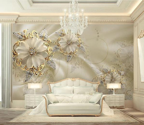 3D Golden Floral Jewelry Wall Mural Wallpaper 15