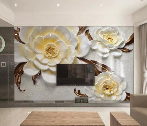 3D Camellia Relief Floral Wall Mural Wallpaper 117