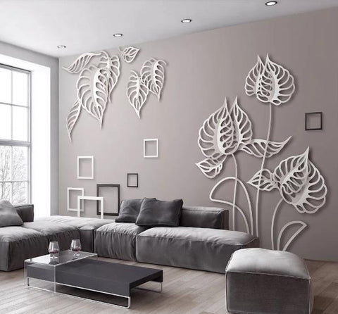 3D Grey Leaves Square Wall Mural Wallpaper 24
