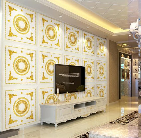 3D Golden Floral Lattice Wall Mural Wallpaper 864