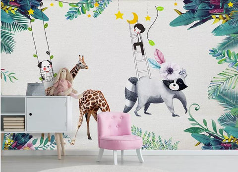 3D Giraffe Cat Dog Child Wall Mural Wallpaper 25