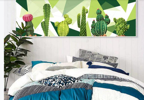 3D Geometric Cactus Wall Mural Wallpaper 280