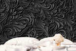 3D Black Abstract Embossed Floral Wall Mural Wallpaper 26 - Jessartdecoration