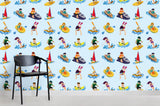 3D Cartoon Character Boat Blue Background Wall Mural Wallpaper 7
