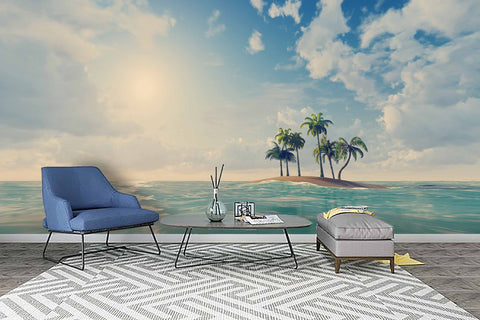 3D Blue Sky Sea Coconut Tree Wall Mural Wallpaper 70