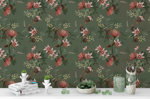 3D Beautiful Vintage Botanical Blooming Garden Wall Mural Wallpaper 17
