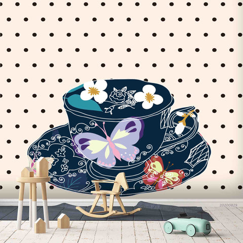 3D Vintage Butterfly Floral  Tea Cup Wall Mural Wallpaper LXL 1587