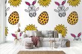 3D cartoon rabbit pinecone wall mural wallpaper 70