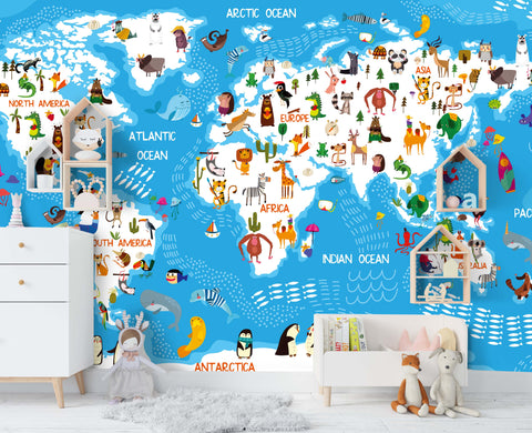 3D Blue Cartoon World Map Wall Mural Wallpaper 40