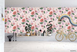 3D Hand Sketching Pink Floral Green Leaves Plant Pink Wall Mural Wallpaper LXL 1281