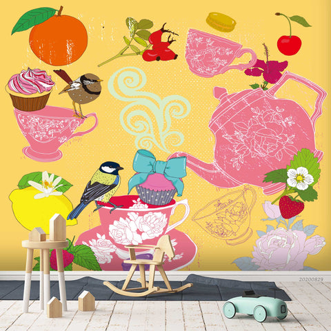 3D Vintage Bird Fruity Colorful Floral Tea Cup Teapot Wall Mural Wallpaper LXL 1581