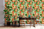 3D Oil Painting Red Floral Green Leaves Plant Wall Mural Wallpaper LXL 1369