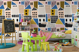 3D Cartoon Colorful Building Wall Mural Wallpaper LXL 1527