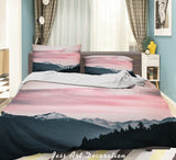 3D Pink Sky Ice Mountain Quilt Cover Set Bedding Set Duvet Cover Pillowcases LXL 278