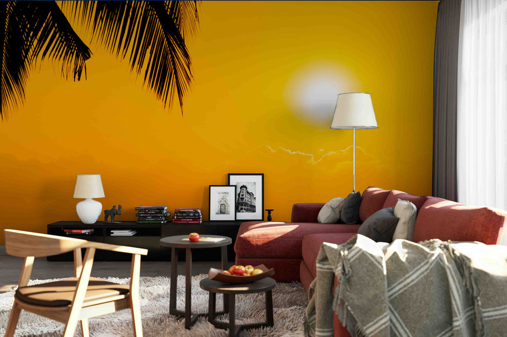 3D Sunset Dark Silhouettes of Palm Trees Living Room Wallpaper Wall Mural Photo