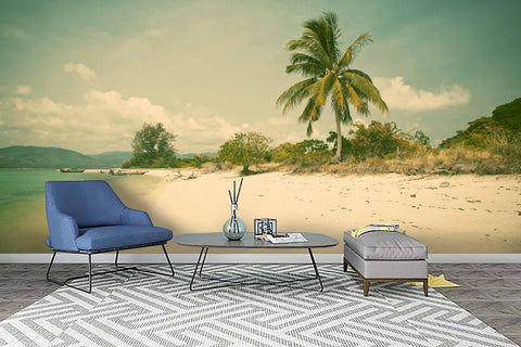 3D Coconut Trees Sea Beach Wall Mural Wallpaper 69