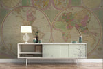 3D retro flat world map wall mural wallpaper 82