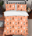3D Hand Drawn Animal Bear Pink Quilt Cover Set Bedding Set Duvet Cover Pillowcases 119 LQH