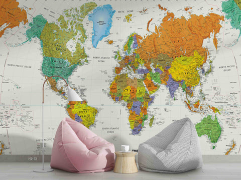 3D Colorful World Map Wall Mural Wallpaper LXL 221