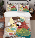 3D Cartoon Parrot Tea Cup Quilt Cover Set Bedding Set Duvet Cover Pillowcases LXL 67