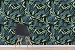 3D Hand Drawn Green Leaves Plant Pattern Wall Mural Wallpaper LXL