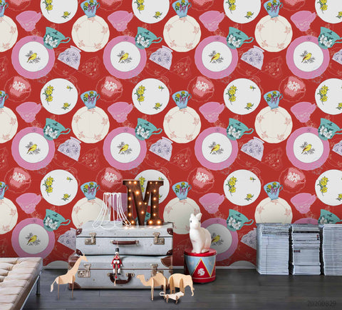 3D Vintage Colorful Floral Tea Cup Wall Mural Wallpaper LXL 1589