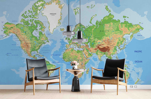 3D Colorful World Map Wall Mural Wallpaper LXL 776