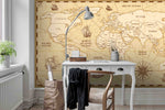 3D Vintage World Map Wall Ship Mural Wallpaper 26