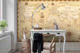 3D Vintage World Map Wall Ship Mural Wallpaper 26 - Jessartdecoration
